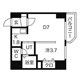 レジデンスタワー札幌 15階1DKの間取り