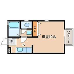 静岡県静岡市清水区中之郷2丁目の賃貸アパートの間取り
