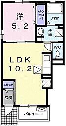 パーク スクエアA 1階1LDKの間取り