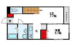 JR鹿児島本線 千鳥駅 徒歩18分の賃貸アパート 2階1LDKの間取り