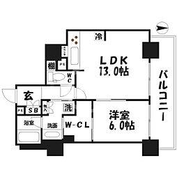 ブランズタワー・ウェリス心斎橋NORTH 8階1LDKの間取り