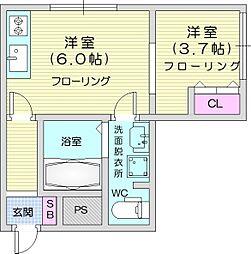 メリディアン国見 弐番館 1階1DKの間取り