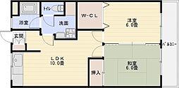 第2コーポ平野[3階]の間取り