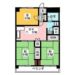 ナガシオマンション[4階]の間取り