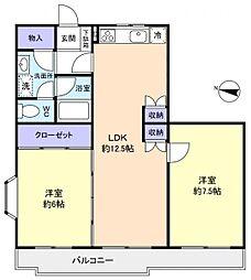 カーサ八千代[2階]の間取り