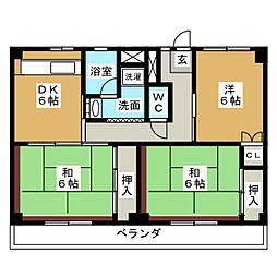 ビレッジハウス四郎丸4号棟[1階]の間取り