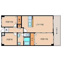奈良県奈良市西登美ケ丘2丁目の賃貸マンションの間取り