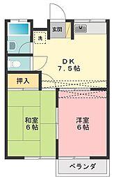東京都西東京市栄町2の賃貸アパートの間取り