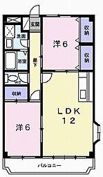 兵庫県加古川市野口町長砂の賃貸マンションの間取り