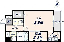 ベリーウェルIII 7階1LDKの間取り