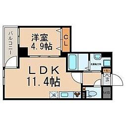 東京都江戸川区東葛西4丁目の賃貸マンションの間取り