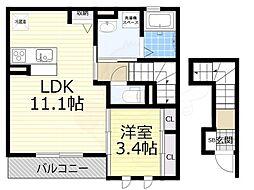 プレリエ小曽根 2階1LDKの間取り