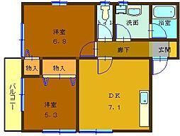 広島県呉市中央5丁目の賃貸マンションの間取り