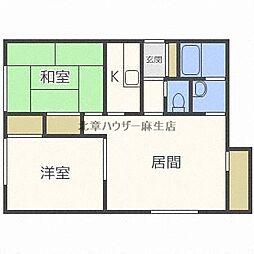 JR学園都市線 新川駅 徒歩19分の賃貸アパート 2階2LDKの間取り