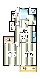ニューロード6M[1階]の間取り