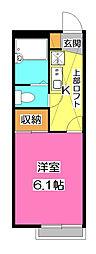 埼玉県所沢市東所沢和田3丁目の賃貸アパートの間取り
