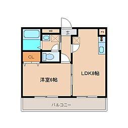 奈良県大和高田市日之出東本町の賃貸アパートの間取り