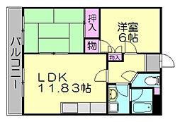 MHJコーポSASAGURI[4階]の間取り