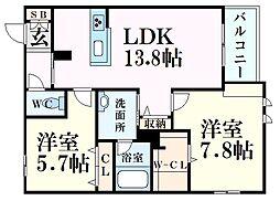 シャーメゾンMV-VII 2階2LDKの間取り