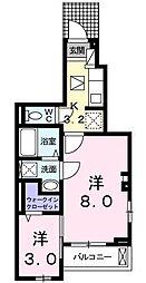バス 楽々園下車 徒歩11分の賃貸アパート 1階2Kの間取り