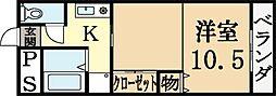 藤井マンション 2階1Kの間取り