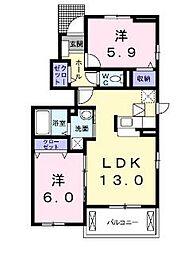 岡山県岡山市中区沢田の賃貸アパートの間取り