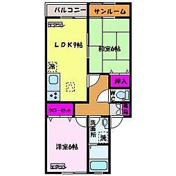 たんぽぽコーポ藤木 A棟[2階]の間取り