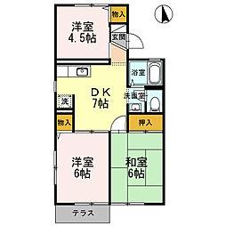 クオーレ 中屋敷2[2階]の間取り
