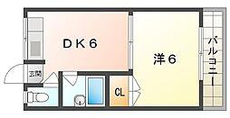 喜田ハイツ 3階1DKの間取り