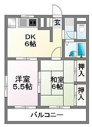 コスモス津田沼[1階]の間取り