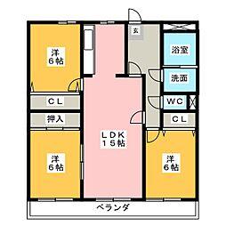 愛知県名古屋市千種区月見坂町2丁目の賃貸マンションの間取り