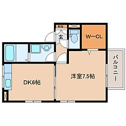 JR東海道本線 静岡駅 バス18分 堀ノ内下車 徒歩8分の賃貸アパート 2階1DKの間取り