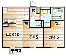 D-room後藤寺 C棟[2階]の間取り