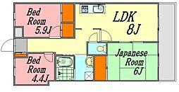 広島県広島市西区井口明神2丁目の賃貸マンションの間取り