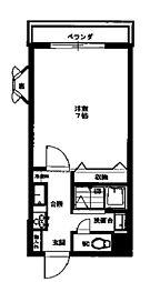 丹木田口ビル 1階ワンルームの間取り