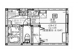 プライムテラス小田急相模原IA棟 2階ワンルームの間取り