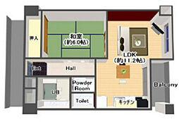メゾン野田 7階1LDKの間取り