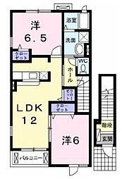 兵庫県三木市自由が丘本町3丁目の賃貸アパートの間取り