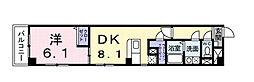 一葉松PHASE・2 3階1DKの間取り