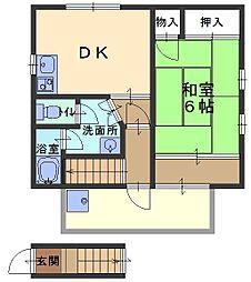 兵庫県芦屋市伊勢町の賃貸アパートの間取り