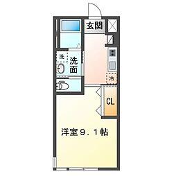 JR内房線 袖ヶ浦駅 徒歩1分の賃貸アパート 2階1Kの間取り