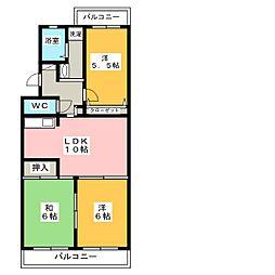 コモド天野[2階]の間取り