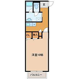 エクセランス・ド・シュレーリン 2階1Kの間取り