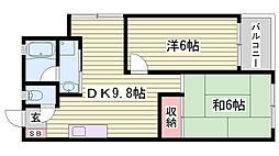 兵庫県明石市魚住町錦が丘4丁目の賃貸マンションの間取り