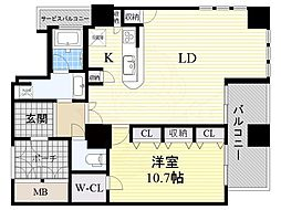 Osaka Metro御堂筋線 心斎橋駅 徒歩3分の賃貸マンション 34階1LDKの間取り