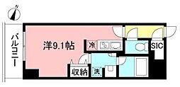 プライムメゾン初台 9階ワンルームの間取り