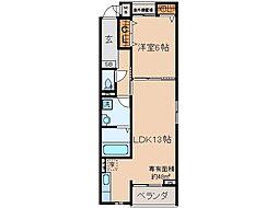 京阪本線 淀駅 徒歩30分の賃貸アパート 2階1LDKの間取り