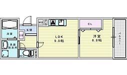 阪急京都本線 相川駅 徒歩2分の賃貸アパート 3階1LDKの間取り