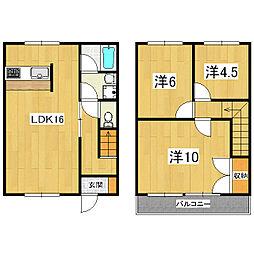 [テラスハウス] 滋賀県大津市横木2丁目 の賃貸【/】の間取り