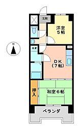 松原メイトマンション[7階]の間取り